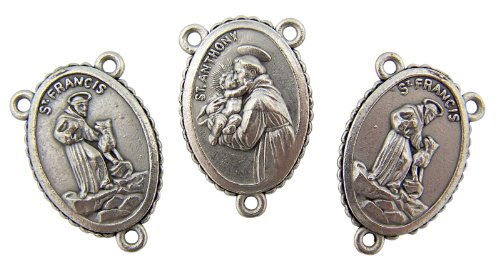 (Religious Art Lot of 3 Saint Francis of Assisi with St Anthony Silver Tone 1 Inch Medal Rosary Part Centerpiece)