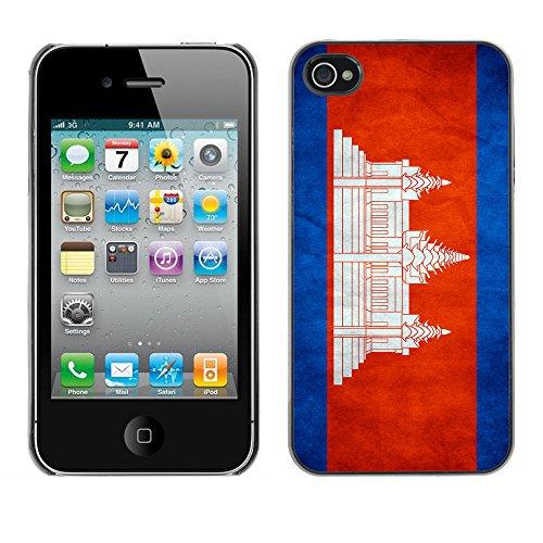 Omega Case PC Polycarbonate Cas Coque Drapeau - Apple iPhone 4 / 4S ( Cambodia Grunge Flag )