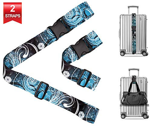 Vintage Floral Travel Luggage Strap Suitcase Security Belt. Heavy Duty & Adjustable. Must Have Travel Accessories. TSA Compliant. 1 Luggage Strap & 1 Add A Bag Strap. 2-Piece Set.