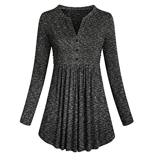 Petite Silk Mandarin Collar Shirt - Kangma Women Long Sleeve Mandarin Collar Shirt Pleated Button Flare Hem Tops Henleys Tunic Black