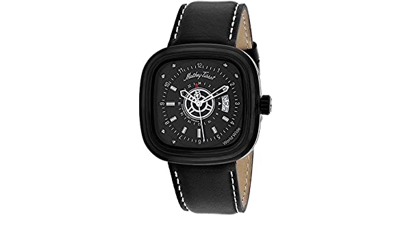 Amazon.com: MATTHEY-TISSOT Mens Classic Stainless Steel Quartz Leather Calfskin Strap, Black, 22 Casual Watch (Model: H110NN: Mathey-Tissot: Watches
