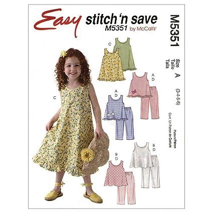Amazon Mccalls Patterns M5351 Childrensgirls Tops Dresses