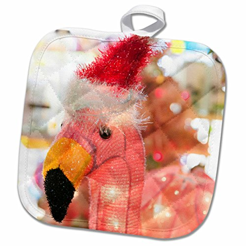 (3dRose Antique Pink Flamingo with Santa Hat, Palm Springs, California, USA. Potholder 8 x 8)
