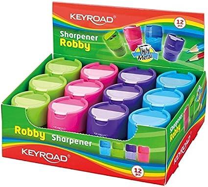 Keyroad KR971297 - Pack de 12 sacapuntas con depósito: Amazon.es: Oficina y papelería