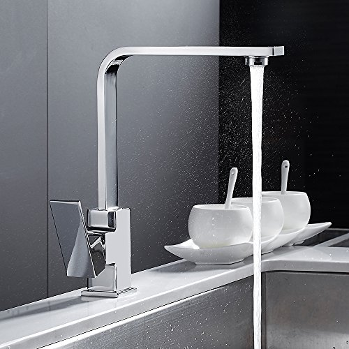 (Chrome Square Kitchen Faucet Modern Sink Mono Single Lever Cold And Hot Brass Faucet Swivel Spout Mixer Tap )