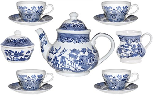 - Churchill Blue Willow 11 Piece Tea Set