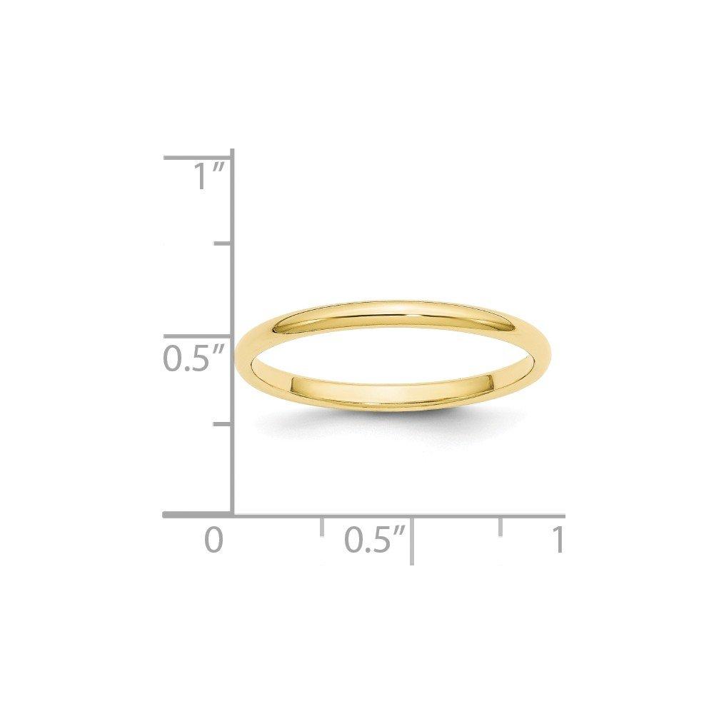JewelrySuperMart Collection 10k Gold 2mm Plain Half Round Classic Wedding Band
