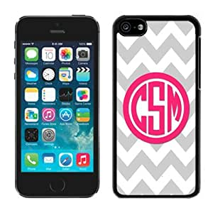 Color Stitching Gray Chevron Pink Monogram TPU Iphone 5c Black Case Soft Silicone Mobile Phone Cover by mcsharks