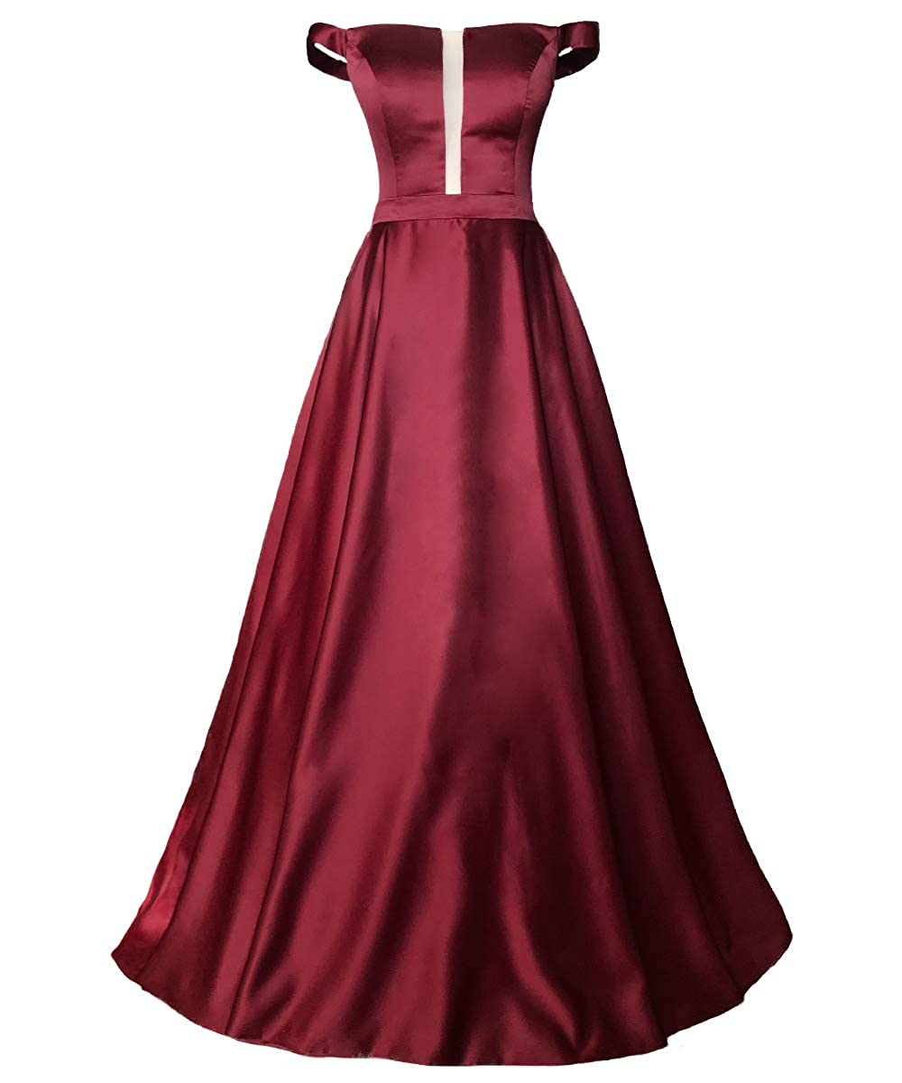 Burgundy VKBRIDAL Women's Simple Off Shoulder Prom Dresses Long Satin Ball Gowns with Pockets