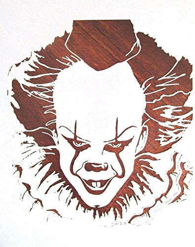 Stencil Reusable IT Pennywise Evil Clown 10 mil Mylar Laser Cut for Painting on Wood, Art Craft, Airbrush, 7