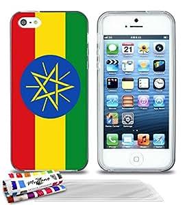 """Carcasa Flexible Ultra-Slim APPLE IPHONE 5 de exclusivo motivo [Bandera Etiopía] [Gris] de MUZZANO  + 3 Pelliculas de Pantalla """"UltraClear"""" + ESTILETE y PAÑO MUZZANO REGALADOS - La Protección Antigolpes ULTIMA, ELEGANTE Y DURADERA para su APPLE IPHONE 5"""