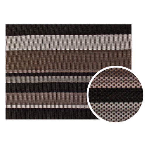 New Star Foodservice 28218 Crossweave Woven Vinyl Placemat, Set of 4, Chocolate Stripe