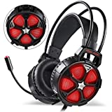 EasySMX Comfortable LED 3.5mm Stereo Gaming Headset for PS4 Xbox One, with LED Lighting Over-Ear Headphone Headset Headband with Mic for PC Computer