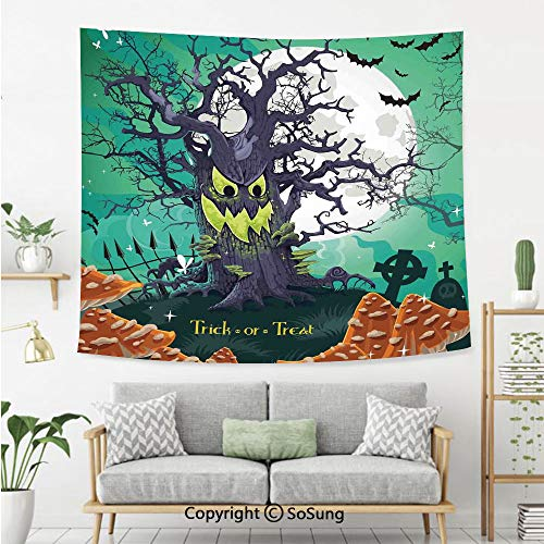 Halloween Decorations Wall Tapestry,Trick or Treat Dead Forest with Spooky Tree Graves Big Kids Cartoon Art,Bedroom Living Room Dorm Wall Hanging,60X40 Inches,Multi]()