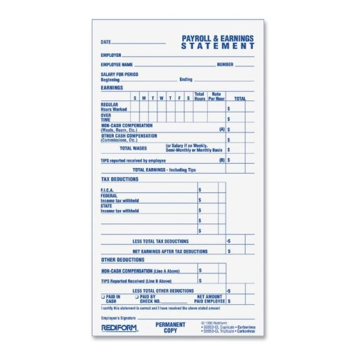 Wholesale CASE of 25 - Rediform Individual Time and Payroll Records-Time/Payroll Records, 2-Part, 3-3/4''x6-7/8'', 55/BK, White
