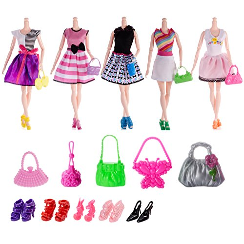 25pcs Barbie Doll Accessories=5pcs Handmade Wedding Dress+10 Pairs Shoes+10pcs Handbag Shoulderbag