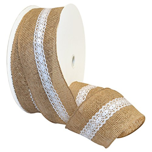 Morex Ribbon Burlap and Lace, French Wired Polyester, 2 1/2 inches by 100 Feet, Natural, Item - Lace Ribbon Morex