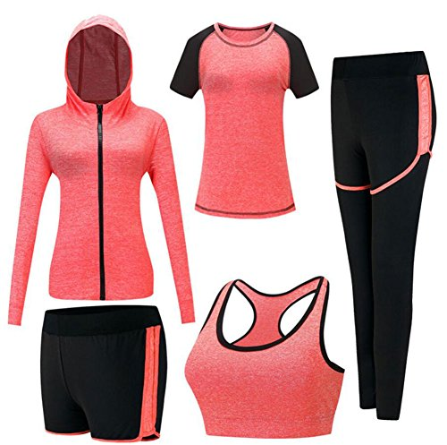 Onlyso Women's 5pcs Sport Suits Fitness Yoga Running Athletic Tracksuits (M, -