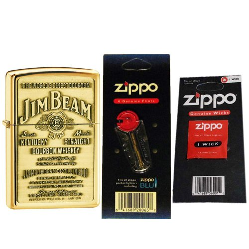 Zippo 254BJB929 Jim Beam Emblem High Polish Brass Windproof Lighter with One Flint Card and One Wick Card