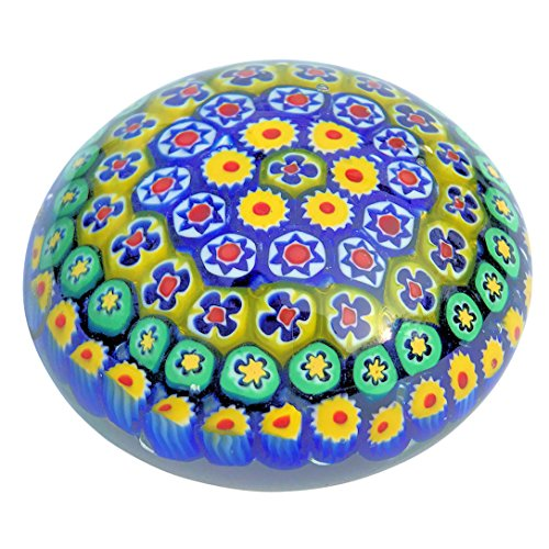 The Rainbow of Color Millefleurs Paperweight, Handcrafted, Art Glass, 3 1/2 D, Flat Bottom, By Whole House Worlds