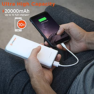 HyperGear 20000mAh Portable Charger External Battery Pack Dual USB Port 2.5A Output Ultra High Capacity Power Bank with Rapid Charging Technology for Apple iPhone, iPad, Samsung Galaxy, Tablets & More