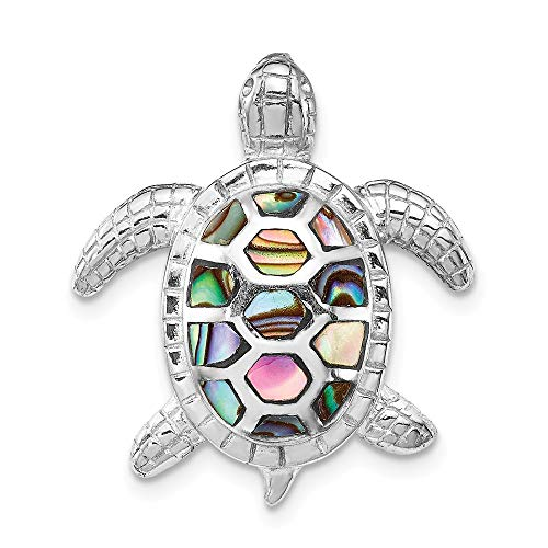 Abalone Sterling Silver Slide Pendant - 925 Sterling Silver Abalone Textured Turtle Slide Necklace Pendant Charm Sea Life Fine Jewelry Gifts For Women For Her