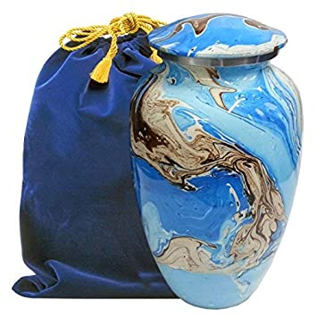 Ocean Tides Beautiful Adult Cremation Urn for Human Ashes – Find Comfort with This Large Urns Beautiful Deep Blue and Brown Earth Tones – w Velvet Bag