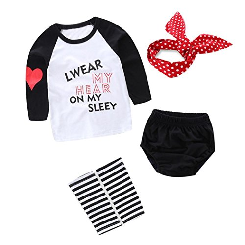 Gotd 4PC Newborn Baby Girl Letter Heart T shirt Tops Leg Warmer Headband (9 Months, White)