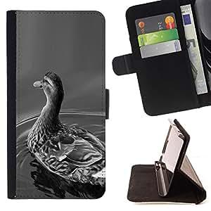 - WHITE NATURE DUCK BIRD BLACK POND GREY - - Prima caja de la PU billetera de cuero con ranuras para tarjetas, efectivo desmontable correa para l Funny HouseFOR LG G2 D800