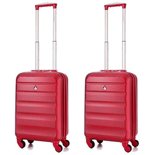 Lot-de-2-Aerolite-533-cm55-cm-ABS-rigide-cabine-Bagage--main-de-voyage-valise