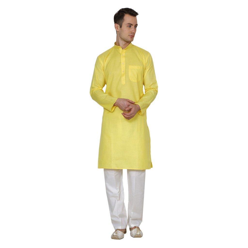 Royal Kurta Men's Cotton Linen Kurta Pyjama 716-DOBBY-YELLOW