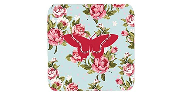 Multicolor 3.5 H x 3.5 W Set of 4 Carolines Treasures BB1030-RS-BU-FC Butterfly Shabby Chic Blue Roses Foam Coasters