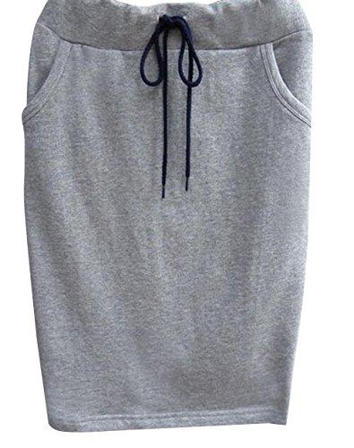 Casual Cotton Elastic Waist Striped Skirt Drawstring Waistband Hip Skirt (M, Grey)