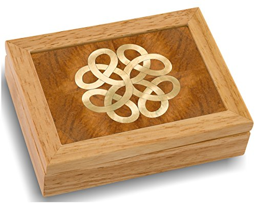 MarqART Wood Art Celtic Box - Handmade USA - Unmatched Quality - Unique, No Two are the Same - Original Work of Wood Art. A Celtic Gift, Ring, Trinket or Wood Jewelry Box (#4852 Celtic Knot 4x5x1.5)