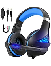 DeepDream Gaming Headset Over-Ear Headphones 3.5mm Jack Cable for PS4, Xbox One, Nintendo Switch, PC with Noise Cancelling Mic/Volume Control/LED Light