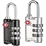 Hooray Service TSA Approved Lock - 3 Digit Combination For Travel Safety and Security Luggage Lock-2 Pack