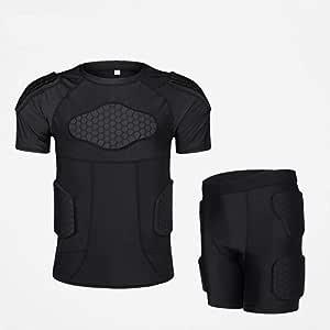 HBRT Camisa de compresión Acolchada para Hombres Traje de Entrenamiento, Muslos Traseros, Nalgas, Codo, Protector de Rodilla para fútbol, fútbol, Baloncesto, Hockey: Amazon.es: Deportes y aire libre