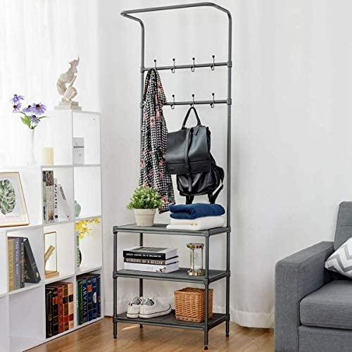 Tangkula Entryway Hall Tree Multi-Purpose Metal Coat and Shoe Bench Rack 3-Tier Storage Shelves Bag Clothes Umbrella and Hat Rack for Entryway Corner Hallway Garment Rack 8 Hooks
