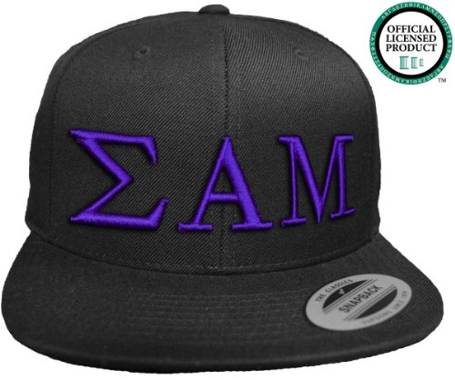 SIGMA ALPHA MU Flat Brim Snapback Hat Purple Letters / SAM | Sammy Frat | Fraternity Cap