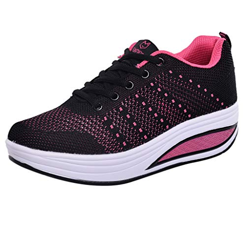 Respctful✿Casual Wedge Sneakers for Women Slip On Lace Up Comfort Mesh Walking Shoes Black
