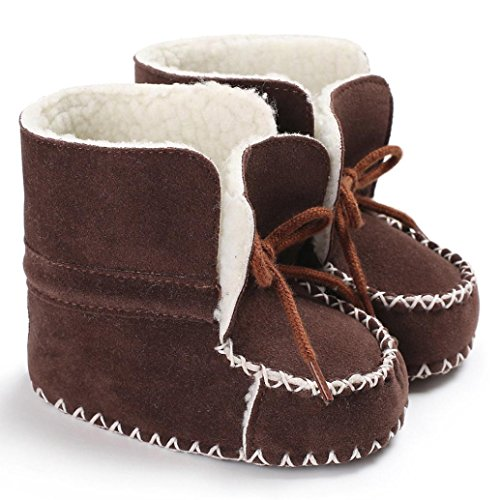 Omiky® Baby Weiche Sohle Schneeschuhe Weiche Krippe Schuhe Kleinkind Stiefel Mit Samt Schnürsenkel Braun