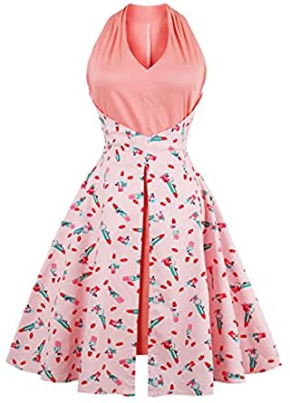 Ouhuang Women Vintage Patchwork V Neck Sleeveless Rockabilly Tea Cocktail Party Swing Dress OH1395P-3XL