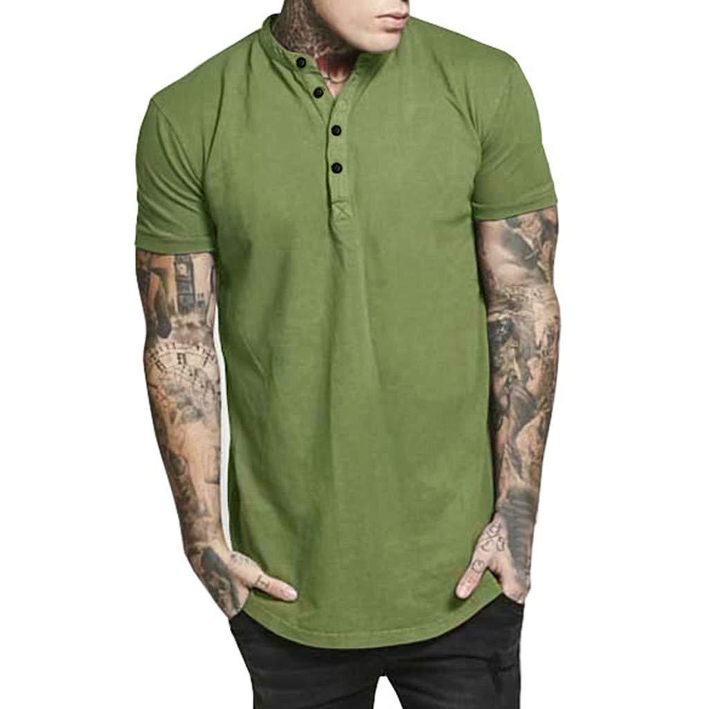 Camiseta Hombre MISSWongg Moda Hombre Verano Casual Botón Slim Fit ...
