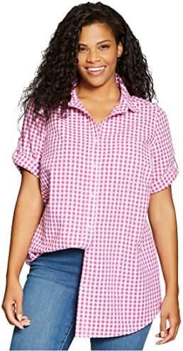 Women's Plus Size Shirt, Seersucker With Generous Fit