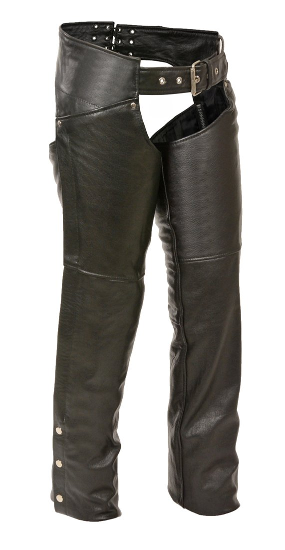 Shaf Leather Womens Chaps Womens Leather Thigh Pocket Chaps Reflective Piping Medium Style # ML1173