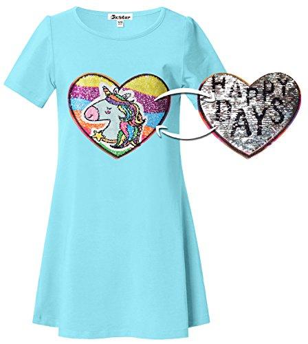 Unicorn Dresses for Girl Sequin Reversible Rainbow Summer Teen Cute Cotton Shirt