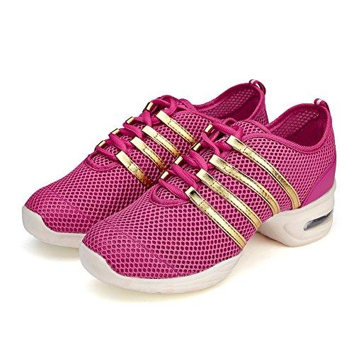 Roymall Mannen En Vrouwen Boost Dance Sneaker / Moderne Jazz Ballroom Performance Dance-sneakers Sportschoenen, Model T11 Rose Rood-2
