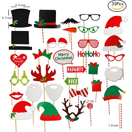 JEANSWSB 33 pcs Christmas Photo Booth Props - Holiday Photo Frame Funny Ornaments Party Favors & -