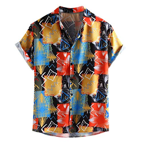 (Beach Shirts for Men Short Sleeve Casual Holiday Blouse,Colorful Printing Loose Buttons (XXXL, Multicolor))