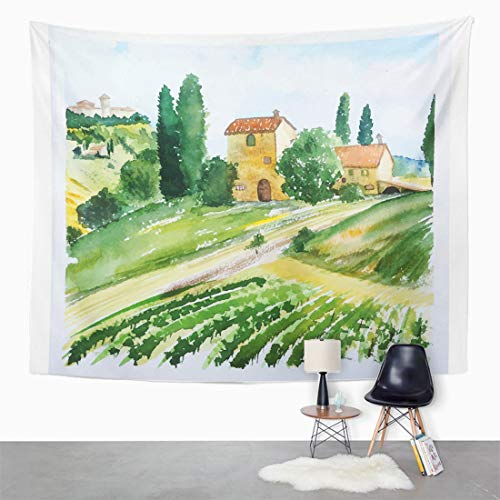 Italian Villa Tapestry - Semtomn Tapestry Wall Hanging Italian Landscape Houses Watercolor Vineyard Olive Tuscany Painting Italy 60